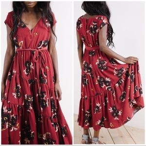 Free People Floral Tiered Swing Maxi Dress NWT